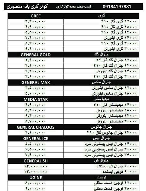 لیست قیمت عمده کولر گازی